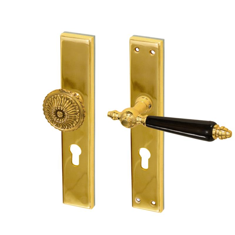 wie antik Türbeschlag für antike Haustüren mit Langschild und Porzellangriff