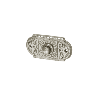 Historismus Klingel Messing Nickel hochglanz | Klingelplatte mit Klingelknopf| Antik Klingel NM9151
