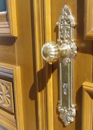 Drückergarnitur mit Knauf | Türbeschlag | Haustür | Messing poliert | Ventano